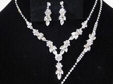 Bridal 3PC Silver Clear Rhinestones Flower Set Necklace, Earrings & Bracelet