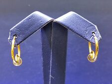 Hoop Style Ear Ring in 22k Yellow Gold with color Stone