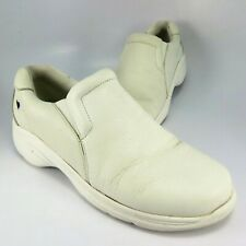 Nurse Mates DOVE Clogs Womens Size 8M White Soft Leather Slip-Ons Loafers Mocs