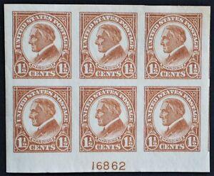 U.S. Mint #576 1 1/2c Harding Imperf Plate # Block. Superb Jumbo. NH. A Gem!