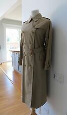 VTG Burberry Khaki Wool Collar Double Breasted Trench Coat 10 12 L XL Nova Check