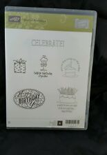 Stampin Up clear mount BEST OF Birthdays words cake candles cupcake happy