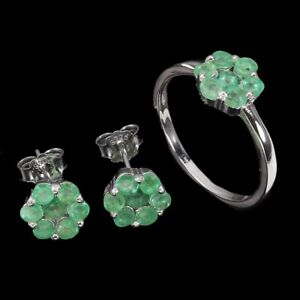 Unheated Round Emerald 3mm 14K White Gold Plate 925 Sterling Silver Flower Sets