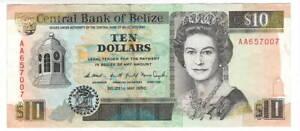 BELIZE $10 Dollars VF/XF Queen Elizabeth II Banknote (1990) P-54a 1st Prefix AA