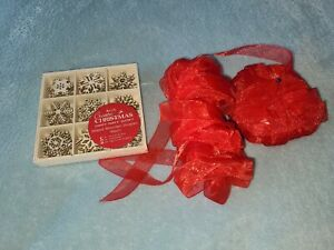 Christmas Wooden Snowflakes And Red Gauzy Ribbon