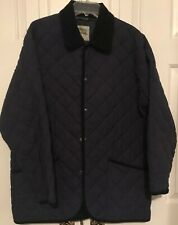 British Manor Coat Size XL Men's Blue Microfiber Quilted Coat Made in England