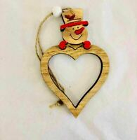 Wooden Christmas Tree Decoration Heart Shape Snowman Head Xmas Hanging Ornaments