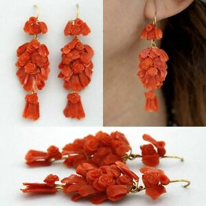 9ct Real Yellow GOLD and Natural Red CORAL Flower Carved Drop Italian Earrings