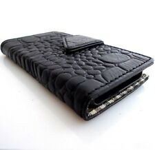 genuine leather Case For Samsung Galaxy Note 2 book wallet black Crocodile cover