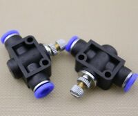 "2pc 6mm Air Flow Speed Control Valve Tube OD 1/4"" Inch Pneumatic Push In Fitting"