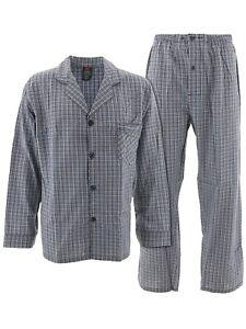 Hanes Mens Gray Blue Plaid Woven Cotton Blend Long Sleeved Pajamas Large XXL