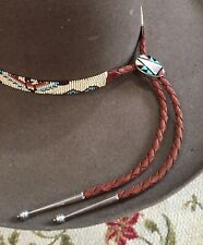 NATIVE Handmad Bead Hatband HAT BAND GENUINE ZUNI TURQUOISE STERLING SILVER BOLO