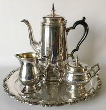 Oneida Heirloom BENNINGTON 5 Pc COFFEE SET Creamer Sugar Tray Silverpl USA 1959