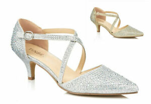LADIES DIAMANTE GLITTER MID KITTEN HEEL STRAPPY EVENING PARTY SHOES SIZES 3-8