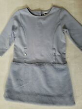Janie And Jack Girls Periwinkle Fur Dress Size 5 Excellent Used Condition