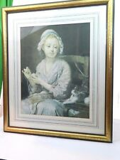 Vintage Young Women Knitting with Cat Kitten Picture & Frame