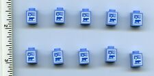 LEGO x 10 Medium Blue Brick 1 x 1 with Cow and Flower Pattern (Milk Carton)