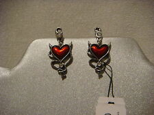 Alchemy Gothic ear studs in pewter Devil Heart