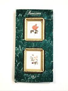 "Vintage Hart Lake Renaissance Collection Gold Framed 4"" Lithographs Flowers Art"