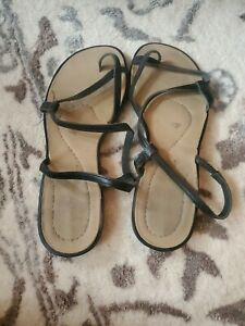 Women's Montego Bay Black Leather Strappy Sandals. SIZE 8