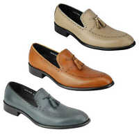 Mens Real Leather Tassel Loafers Retro Hand Made Brogue Slip on Dress Shoes