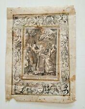 Incisione su pergamena lavorata con piastra in rame Battesimo Maria Vergine