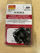 Micro Trains 003020051 N Scale 1-Pair of 4-Wheel Light wt Passenger Car Trucks