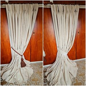 """HEAVY blackout Made To Measure embroidered detail Curtains, fit 106"""" w 84"""" d"""