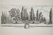 ISRAEL SILVESTRE Jardin Cardinal Montalte GRAVURE EAU FORTE Vue Rome ITALIE 1650