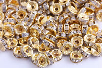200 Pcs Gold Plated Crystal Rondelle Spacer Beads Charms Jewelry Findings 6mm