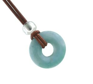 Larimar Necklace Dolphin Stone  Donut Pendant Artisan Handmade with Leather Cord
