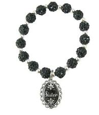 Sister Black Jeweled Beads Crystal Stretch Bracelet Domed Charm Jewelry Gift Sis