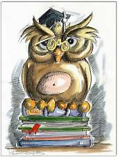 KLAUSEWITZ: ORIGINAL FEDER UND AQUARELL : BÜCHEREULE/ BOOK OWL/ 24x32 cm