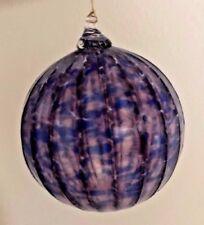 Hudson Glass Handblown Round Steel Blue and Purple 4 inch diameter Ornament