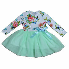 New Girls Long Sleeves Flower Party Dress in 8 Colours 12-18 Months to 7-8 Years