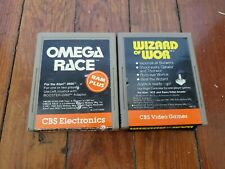Atari 2600 Game Lot (2), Omega Race & Wizard of Wor by CBS Electronics, UNTESTED