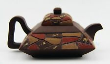CHINESE YIXING ZISHA CLAY POTTERY ARTISTIC SQUARE TEAPOT AND COVER # 3