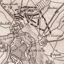 Carte XIXe Ville de Mantoue Mantova Campagne d'Italie Napoléon Bonaparte 1818