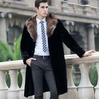 Mens Mink Fur Jacket Lapel Fur Collar Coat Mid Long Warm Thicken Parka Overcoat