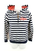 FAT FACE Womens Hoodie Jumper S Small Navy Blue White Stripes Cotton & Polyester