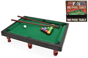 WOODEN TABLE TOP MINI DELUXE KIDS CHILDREN POOL PLAY SET CUES BALLS SNOOKER GAME