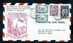 Thailand - 1947 Panam First Flight Airmail Cover Bangkok to Calcutta. India