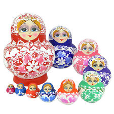 10 pcs/set Colorful Matryoshka Russian Nesting Dolls Toy Wooden Babushka Painted