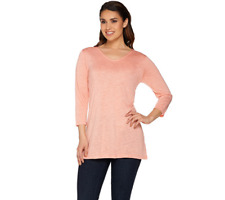 Linea By Louis Dell'Olio 3/4 Sleeve Novelty Knit Top Size M PEACH Color