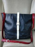 Fendi 80's Vintage Leather Bag Crossbody Shoulder Pouch Tote Black Purse