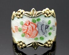 VARGAS VTG WHITE GUILLOCHE ENAMELED ROSE FLOWER GOLD PLATED SS CIGAR BAND RING