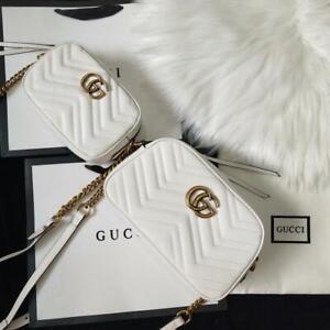 Gucci GG Marmont Matelasse Mini Shoulder Leather Camera Bag white