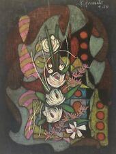 Superbe grand pastel Abstraction et Nature morte signé R Revaute Abstrait 1979 .