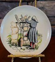 Vintage Greek Wood Plate Decorative Hangable Handpainted Made in Greece Cypress