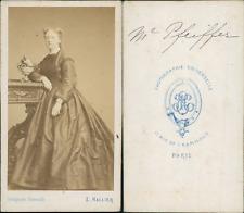 Hallier, Paris, Mme Pfeiffer CDV vintage albumen Tirage albuminé  6,5x10,5